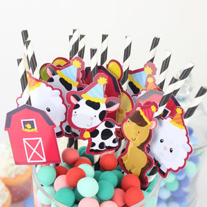 Farm Animals Party Straw | Animals Straw Toppers| Farm Birthday Party | Animal Party Supply | Farm Party Decor| Animal Favors | Cow, Sheep