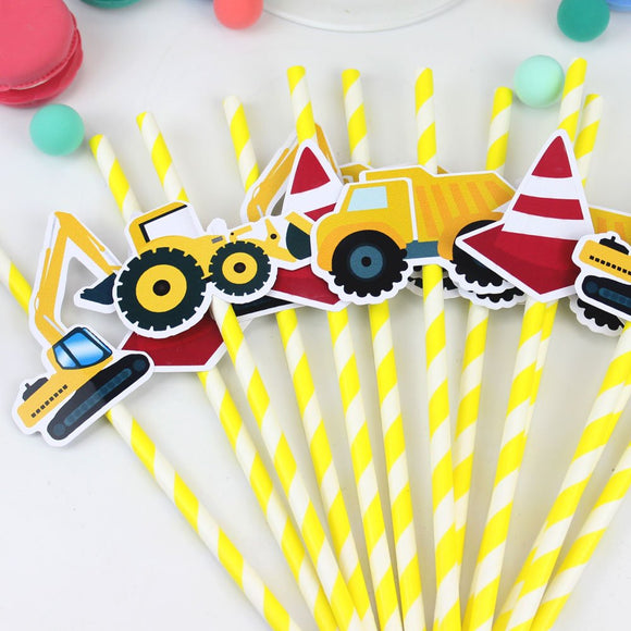 Construction Party Straw | Truck Straw Toppers| Yellow Truck Birthday Party | Construction Truck Party Supply | Truck Cars Party Favors