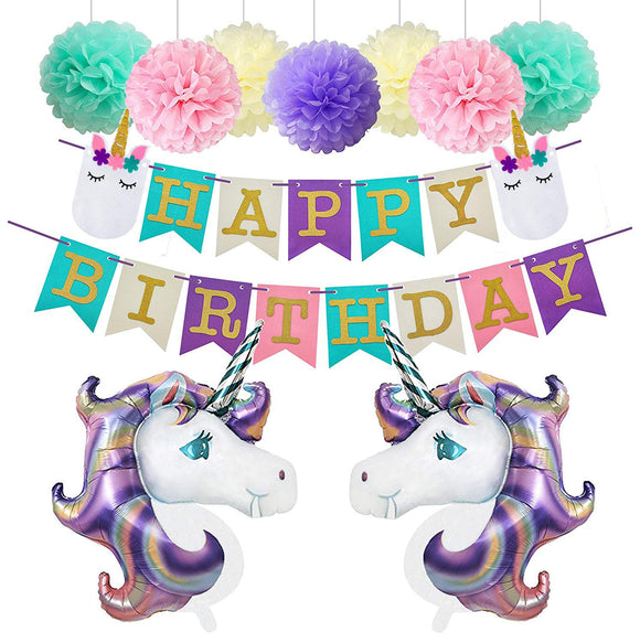 UNICORN PARTY- Purple, Pink Mint Green Balloons Party Decoration Set, Unicorn Party Theme | Unicorn Birthday Banner | Girls Birthday Party