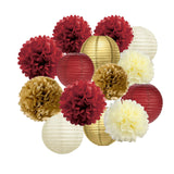 Red, Maroon, Burgundy, Gold, Cream Party Poms & Lantern Set-Red Birthday Party, Moms Birhtday, Burgandy Bridal Shower, Burgundy Gold Hanging