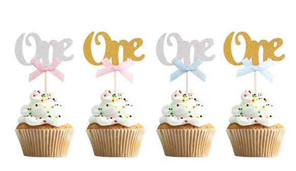 1st First Birthday Cup Cake Topper One Gold Glitter Decoration, One Gold Cake Topper, I Am One Party, Silver Cupcake Picks, First Birthday