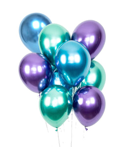 MERMAID BALLOONS - Metallic Chrome Balloons, Mermaid Colors in Purple, Green and Blue - Metallic latex balloons,  Party Balloons Bouquet