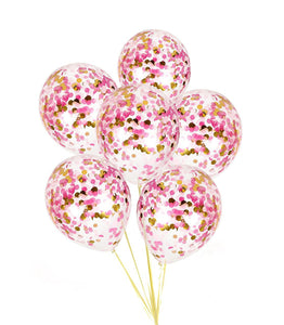 PINK CONFETTI BALLOONS-Pink and Gold Confetti Balloons Bouquet, Baby Shower Balloons, Pink Balloons, Confetti Girls Birthday Balloons