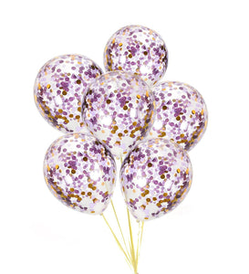 PURPLE CONFETTI BALLOONS-Purple and Gold Confetti Balloons Bouquet, Baby Shower Balloons, Purple Balloons, Confetti Girls Birthday Balloons