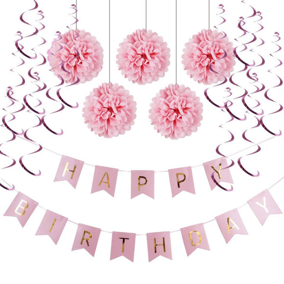 Pink Theme Happy Birthday Decoration Set-Princess Party, Pink Happy Birthday Banner, Sweet 16th Birthday, Girls First Birthday Party