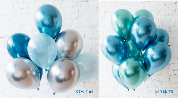 BLUE GREEN Balloons - Blue Green Silver Mix Metallic Chrome Balloons, Blue Baby Shower Balloons, Blue Party Balloons