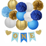 BOYS FIRST BIRTHDAY- Blue, Gold Flower Poms & Lantern Decoration Kit, Boys Birthday Party Set, Boys One Year Old Banner
