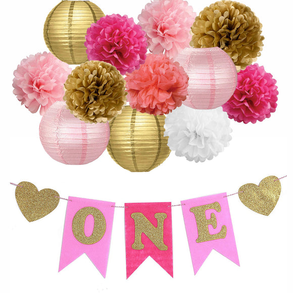GIRL'S FIRST BIRTHDAY- Pink, Gold Flower Poms & Lantern Decoration Kit, Baby Girl Birthday Party Set, Girl's One Year Old Banner, Cake Smash