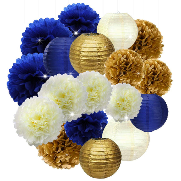 Navy Royal Blue, Gold, Cream Party Poms & Lantern Set-Boy Birthday Party Set| Boy Baby Shower |Father Birhtday|Nautical Party Decor |Graduat