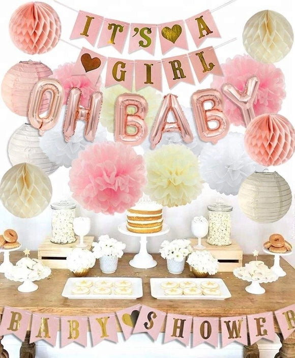 PINK and Cream Baby Shower Decorations for Girl - Its A Girl Banner & BABY SHOWER Banner| Gender Revea Party Kit Decor | Oh Baby Balloons