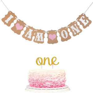 I Am One Girls Banner Decoration with Cake Topper