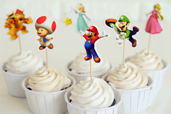 SUPER MARIO Cup Cake Topper-Mario Party Decoration, Boy's Birthday Party, Mario and Luigi Party Decoration, Mario Party Favors, Super Mario