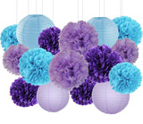 MERMIAD PARTY Set-DIY Purple, Bue, Lavender Pom Poms & Lantern, Under the Sea Party Supply, Purple Birthday Party, Purple Tuquoise Wedding