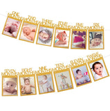 BABY PHOTO BANNER - 12 Months Picture Garland, Baby First Year Frame, Nursery Banner Photo Frame, Birthday Party Monthly Photo Banner