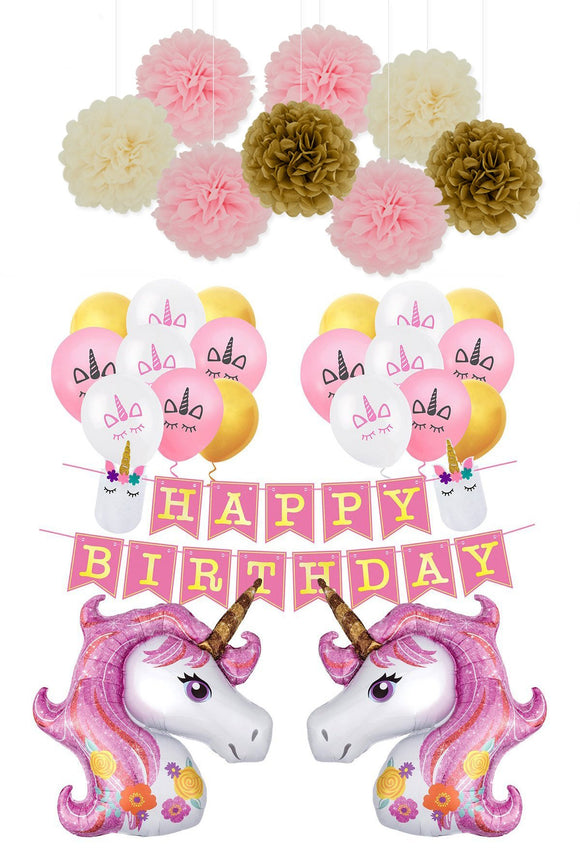 UNICORN PARTY Decoration Set |  Pink Unicorn Party Theme | Unicorn Happy Birthday Banner | Girls Birthday Party |Unicorn Balloons