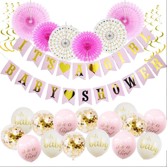 Pink and Gold Baby Shower Decorations for Girl - Its A Girl Banner,  BABY SHOWER Banner| Baby Shower Balloons | Pink Gold Party  Fans