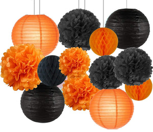 Halloween Party Decoration DIY Kit with Black Orange Paper Lanterns, Honeycomb Ball, Pom poms, Jack O Lantern Party Theme, Halloween Hanging