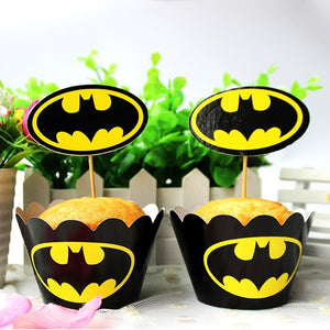 BATMAN Cupcake Toppers and Wrappers | Batman Party Favors | Batman Birthday Party Decorations | Batman Party Supplies | Batman Cake Topper