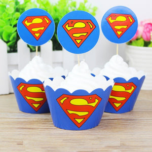 SUPERMAN Cupcake Toppers and Wrappers | Superman Party Favors | Superman Birthday Party | Superman Cake Topper, Superman Picks