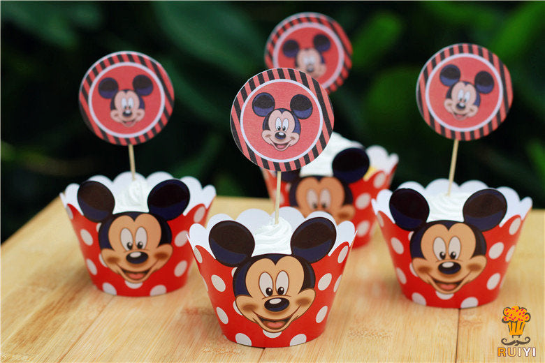 Pleasant Mickey Cupcake Toppers And Wrappers Mickey Party Favors Mickey Birthday Cards Printable Riciscafe Filternl