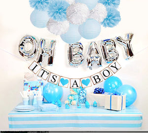 BOY'S BABY SHOWER Decorations Set-It's A Boy Banner, Baby Blue Shower Party Kit, Baby Blue Party Theme, Baby Boy Shower Party, Oh Baby Party