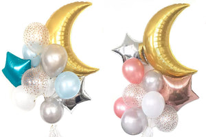 MOON & STAR Balloons-Girl Baby Shower Decoration, Boys Baby Shower Balloons, Girl Birthday Balloons, Pink Party Balloons, Moon Star Balloons