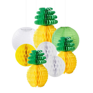 PINEAPPLE PARTY Honeycomb Paper Lantern| Tropical Party Decor| Pineapple Hanging Decorations | Yellow Green Party Decor | Yellow Lantern