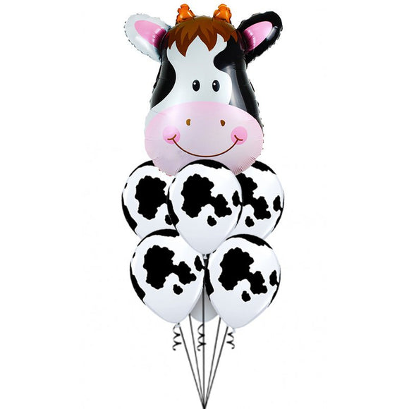 COW BALLOON Bouquet- Cow Balloon, Animal Head Foil Balloons, Safari Themed Party, Moo Moo Party, Farm Animal Party, Zoo Party Balloon