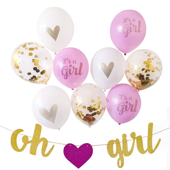 GIRL'S BABY SHOWER Party Decoration Set-Girl Baby Shower Decoration, Girl Baby Shower Banner, Pink Baby Shower Balloons, Confetti Balloons