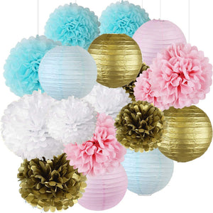 Pink and Blue Gender Reveal Party Decorations -Lantern & Tissue Pom Kit - Baby Shower Decoration, Boy or Girl Baby Party, Pink and Blue Poms