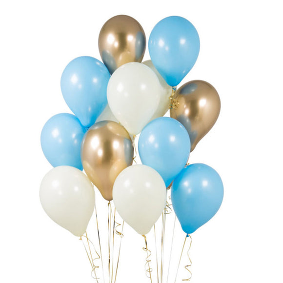BABY BLUE PARTY Balloons-Blue and Gold Balloons Bouquet, Baby Shower Balloons, Baby Blue Balloons, Boy Birthday Balloons