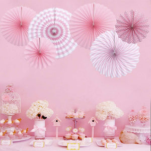 PINK PARTY FANS Decoration Set-Pink Girls Birthday Party | Pink Rosette Paper Fan Set, First Birthday Party, Pink Baby Shower, Pink Nursery