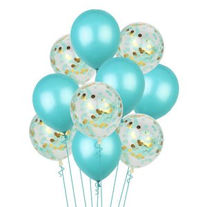 MINT BLUE CONFETTI Balloons-Blue and Gold Confetti Balloons Bouquet, Blue Mint Baby Shower Balloons, Blue Balloons, 1st Birthday Balloons