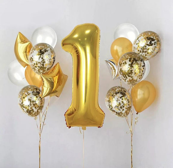 1ST BIRTHDAY PARTY Balloons, First Birthday Balloon, Gold Number 1 Balloon, Number 1 Foil Balloons | 1st Birthday Party | Gold Baby Party