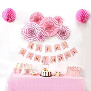 PINK PARTY Girl Happy Birthday Decoration Set- Princess Birthday Party, Pink Happy Birthday Banner, Pink Party Fans Set, Pink Rosette