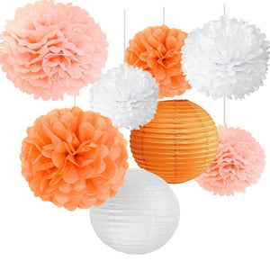Orange Peach White Party Tissue Pom Poms Set-DIY Girls Party Set, Paper Lantern| Baby Shower |Birthday | Hanging Decoration