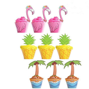 HAWAIIN PARTY DECOR-Flamingo Pineapple Palm Cupcake Toppers Wrappers, Flamingo Party Decoration, Flamingo Party Decoration, Luau party
