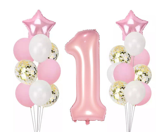 GIANT PINK Number 1 Balloons, Pink Party Balloons | Girl's 1st Birthday Party |Pink Balloon Cake Smash | First Birthday Balloon