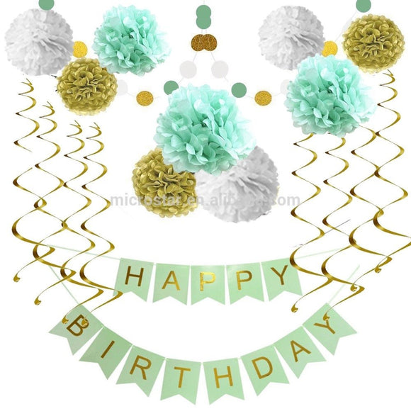 MINT GREEN Happy Birthday Decoration, Mint Green Birthday Banner, Mint Green Birthday Party Decor Set, Mint Gold Party Poms and Lantern Set