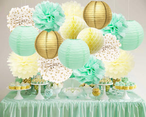 Mint Green, Cream, and Gold Party Poms & Lantern Set-Birthday Party Decor| Baby Shower|Bridal Shower |Photoshoot Backdrop|Cake Smash|Wedding