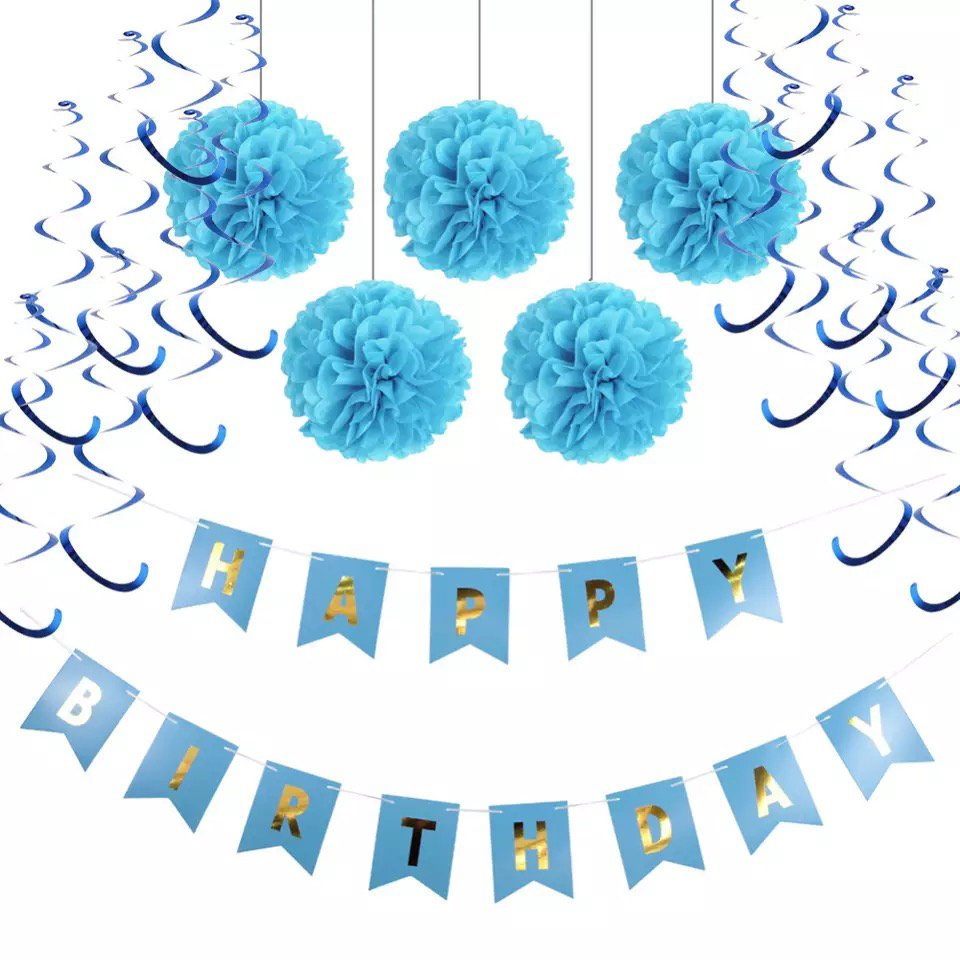 Baby Boy First Birthday Decoration Set Boys Cake Smash Blue Happy Birhday Banner Party Tissue Poms