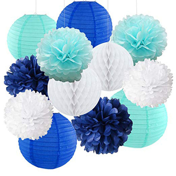 Navy Royal Blue, Aqua, White Flower Poms & Paper Lantern Decoration Set, Boys Birthday Party, Boys Baby Shower, Blue Theme Birthday Party
