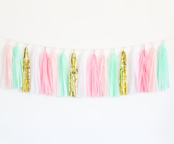 Pink, Mint & Gold Tassel Garland Kit