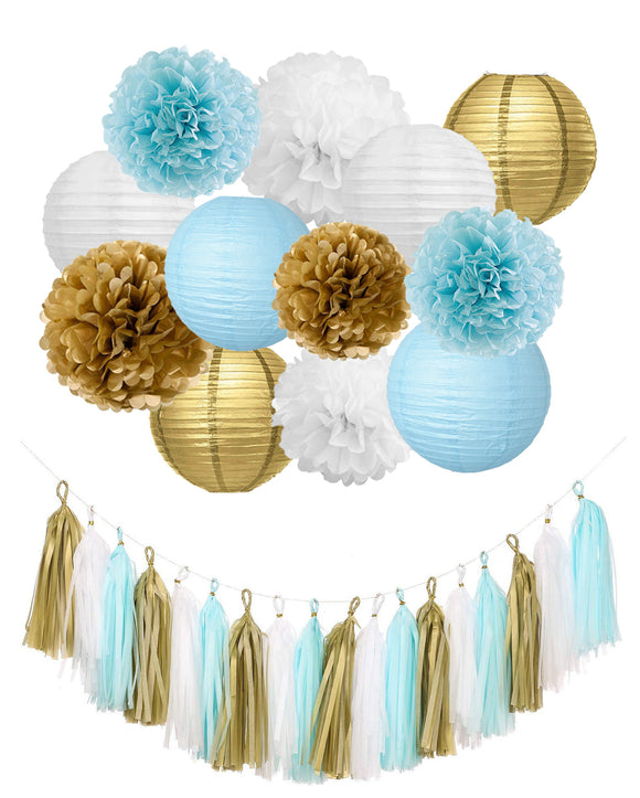 BABY BLUE GOLD Party Decoration, Tassel Garland Paper Lanterns, Baby Blue Baby Shower Hanging Decorations Set, Blue Gold Poms