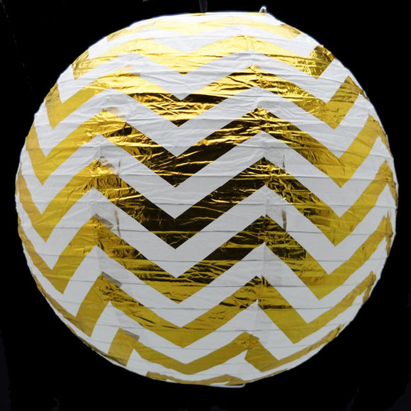 Foil Gold Round Paper Lanterns | Gold Paper Lanterns for Wedding Birthday Party Decor |Wedding Lantern Decoration |Gold Chevron Lantern