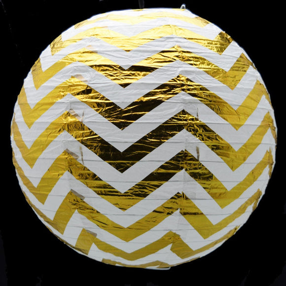 Gold Foil Round Paper Lanterns | Gold Paper Lanterns for Wedding Birthday Party Decor |Wedding Lantern Decoration |Gold Chevron Lantern