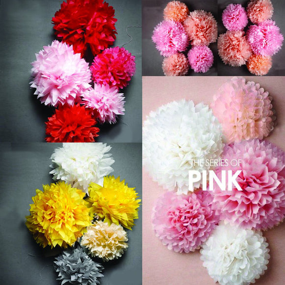 PARTY POMS - DIY Tissue Poms, Flower Poms, Red Poms, Pink Poms, Fuscia Poms, Peach Poms, Yellow Poms, White Poms, Party Decoration, Wedding