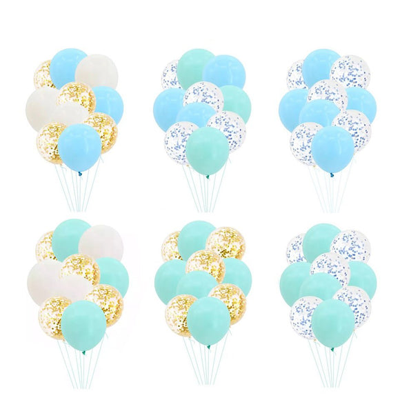 BLUE GREEN PASTEL Balloons- Macaron Balloons-Baby Shower Balloons, Macaron Color Balloons, Confetti Balloons, Party Balloons, Gender Balloon