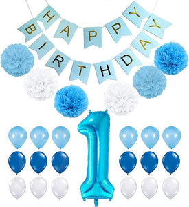 1st Birthday Balloons Boy Decorations Kit Blue Poms Lantern Decoration Boys One