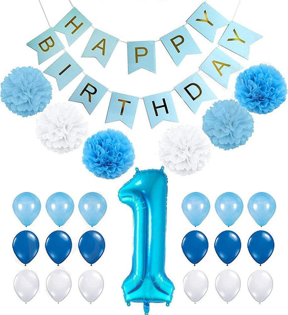 1st Birthday Balloons Boy Decorations Kit- Blue Poms & Lantern Decoration Kit, Boys One Year Birthday Party Set, Boys One Year Old Banner,